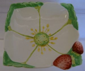 Carlton Ware Embossed 'Strawberry' Square Jam Dish- 1930s